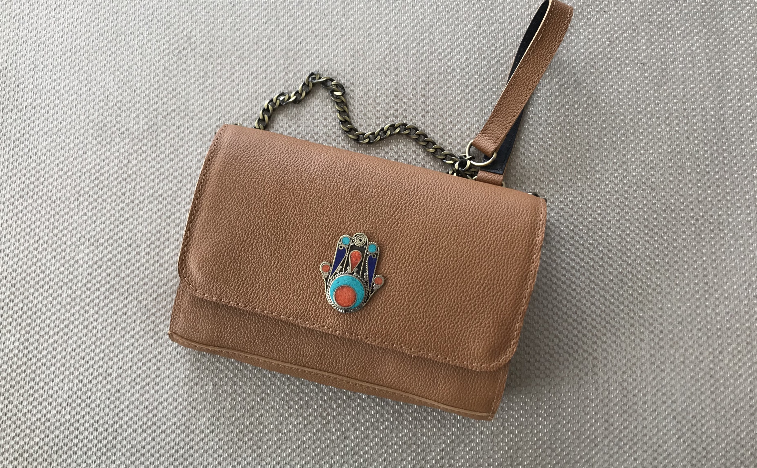 Jewelry bag leather camel