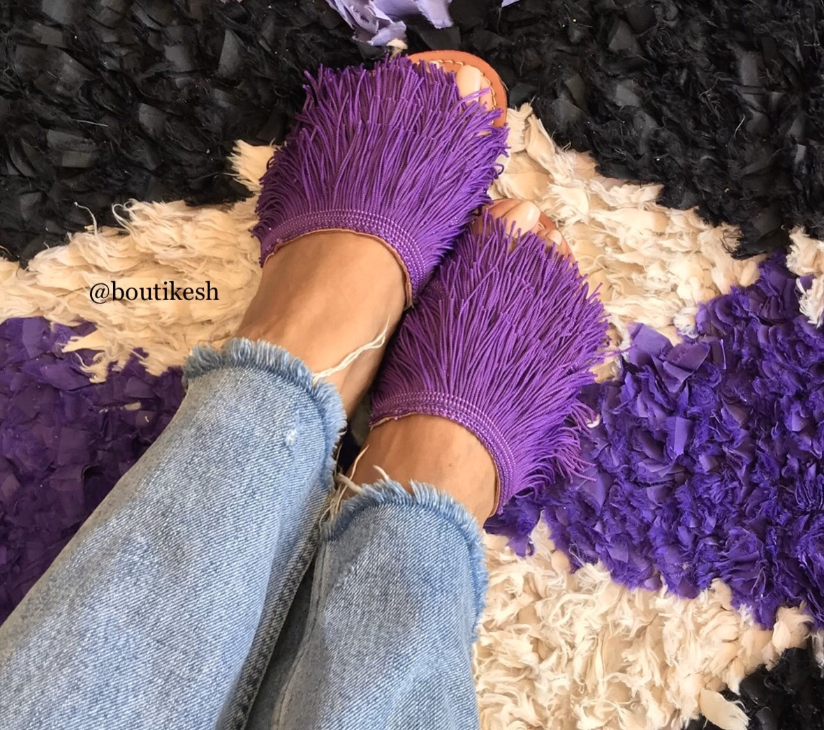 Sandals leather purple with fringes