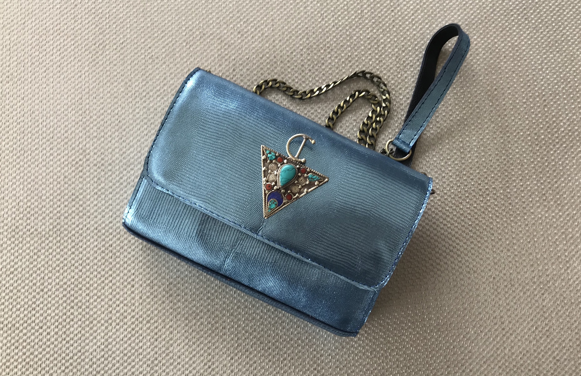 Jewelry bag leather croco light blue