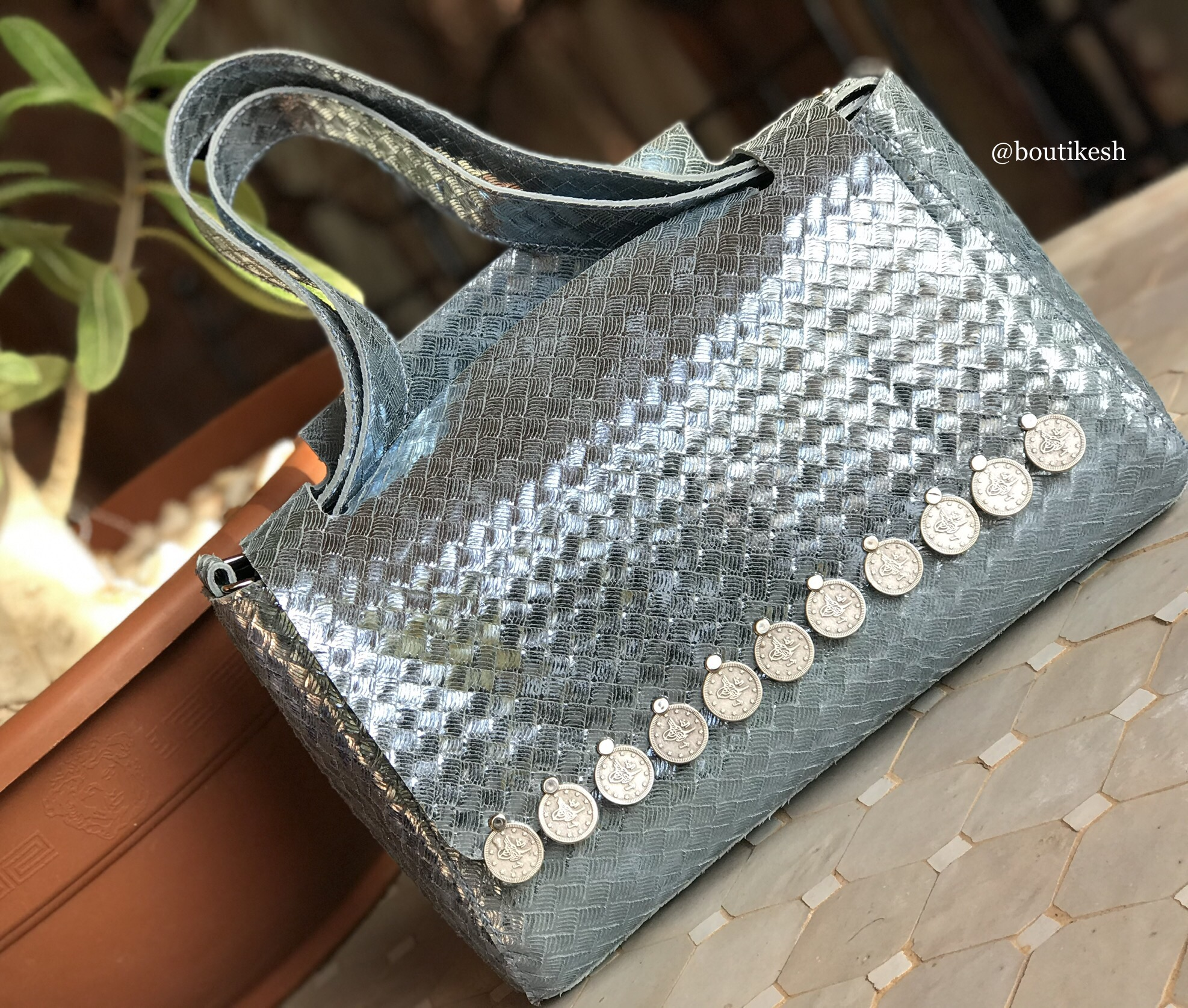 Bag leather light blue silver with coins
