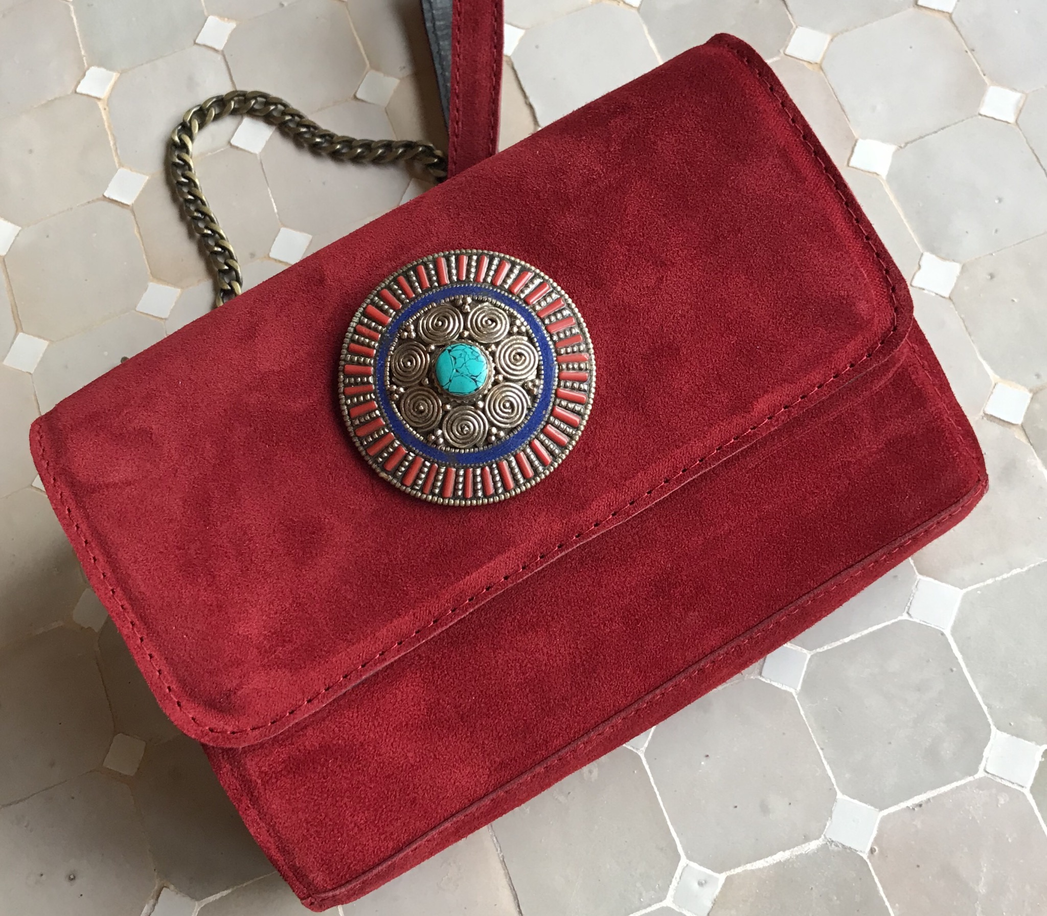 Jewelry bag suede leather red
