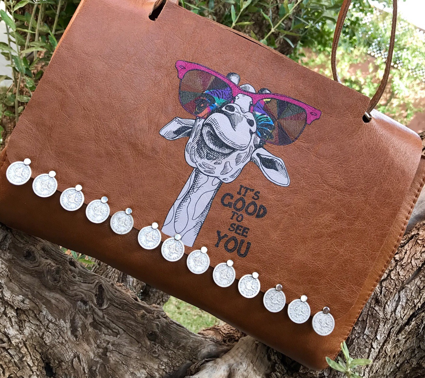 Bag leather handmade big with funky camel & money