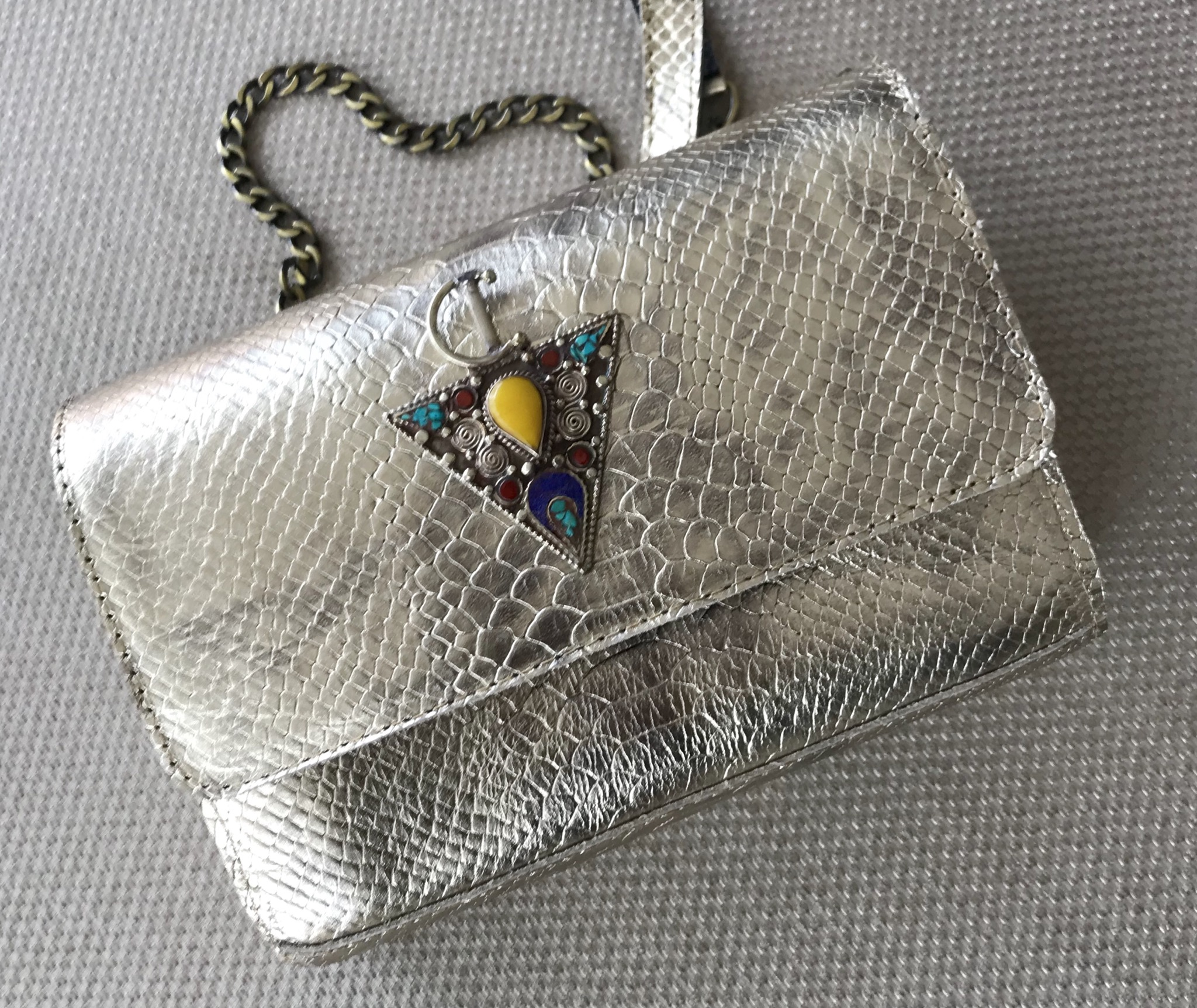 Jewelry bag leather craquelé gold silver