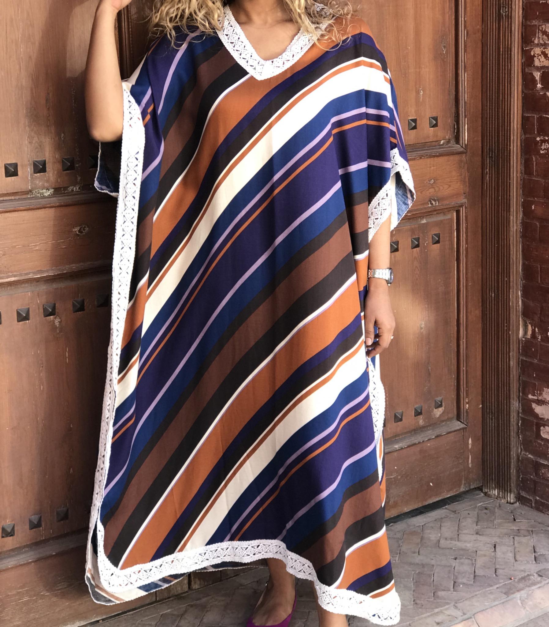 Gandoura coton purple camel blue with white lace