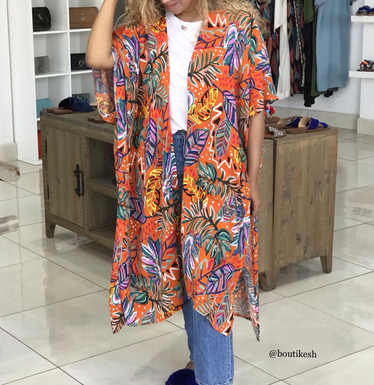 Kimono crêpe de Chine orange Colorful