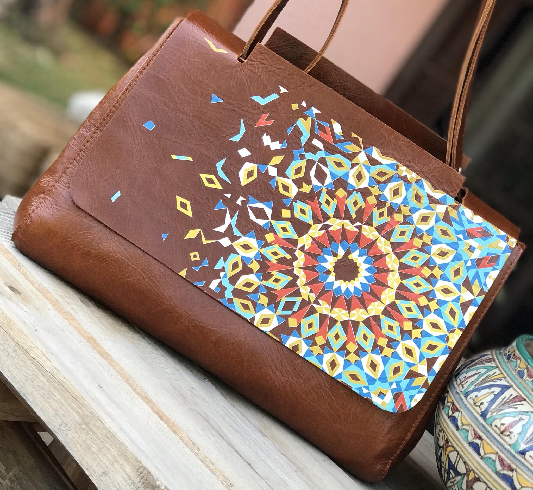 Sac Leather cabas peint à la main mosaïque