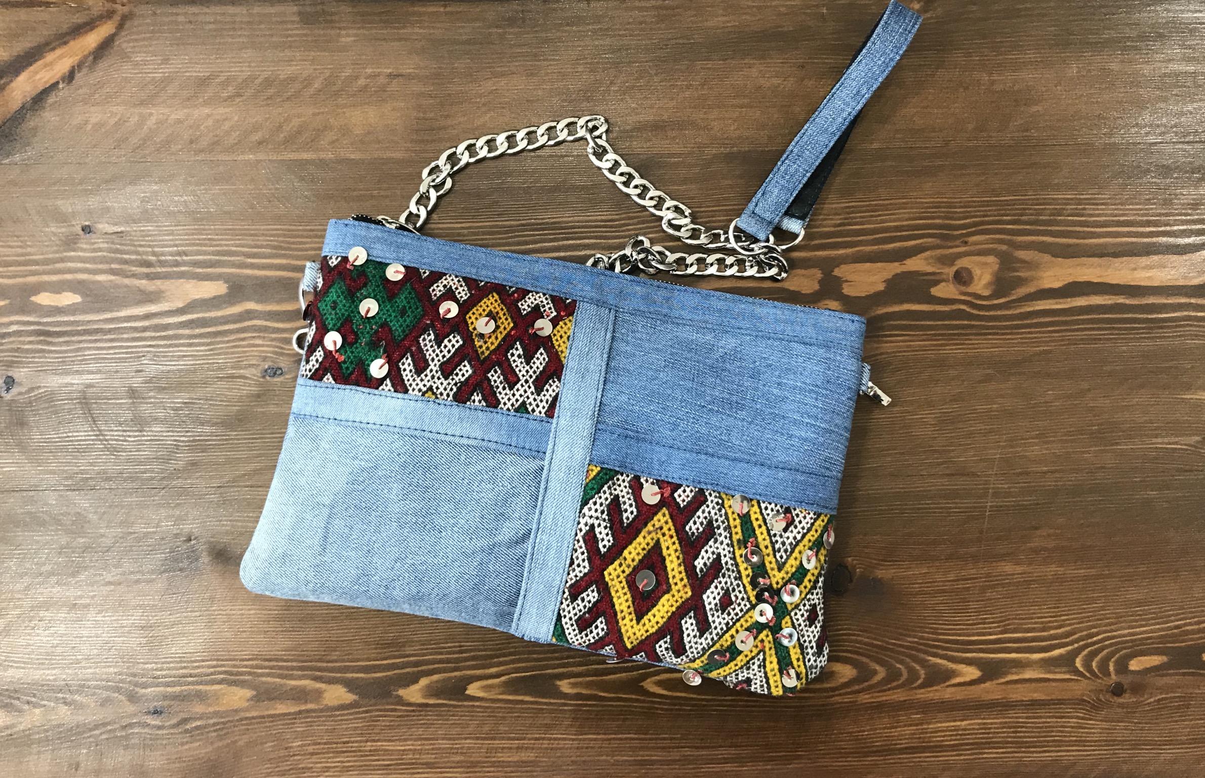 Bag purse jeans kilim & mozona