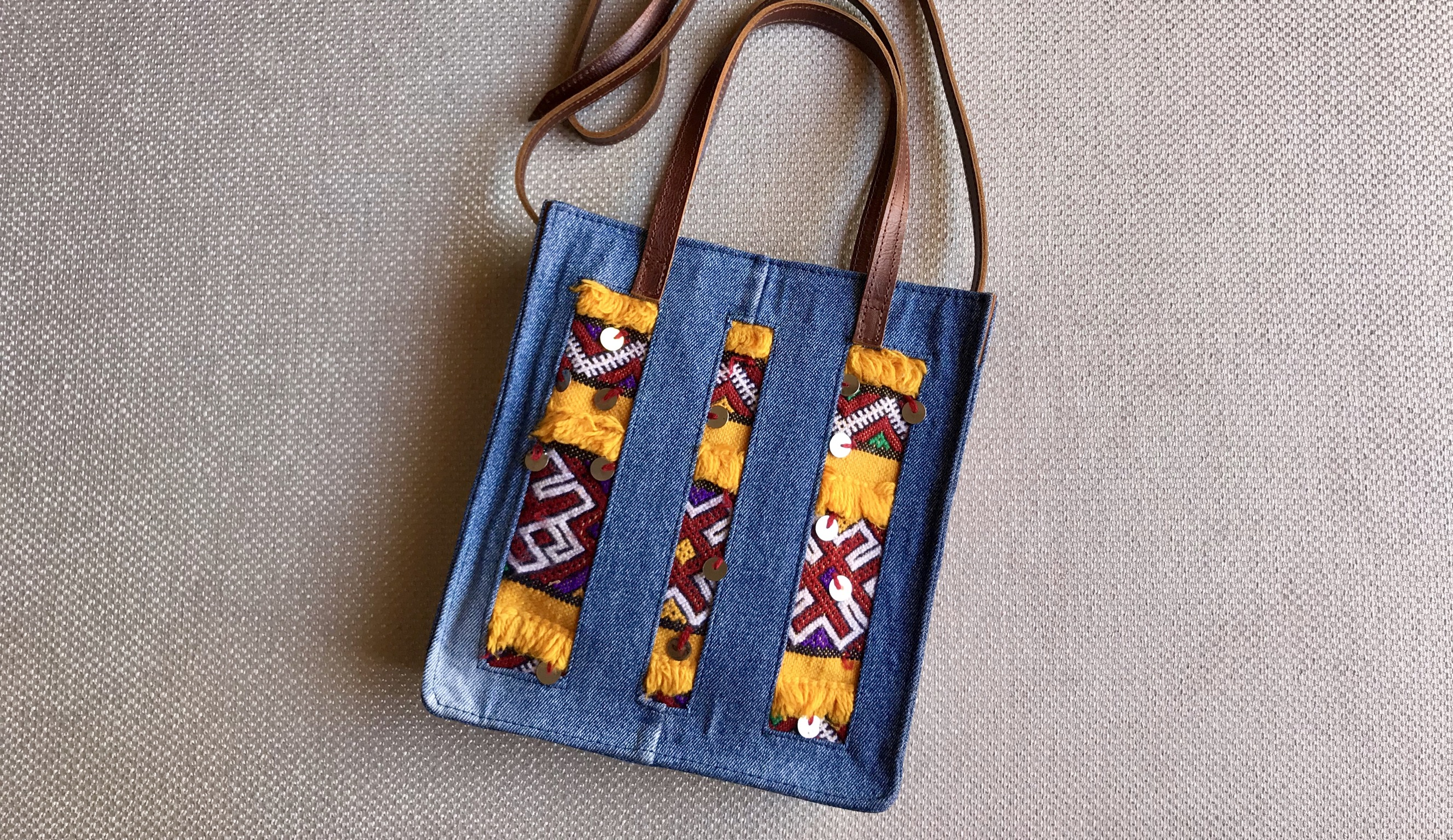 Jeans bag with kilim & mozona colorful