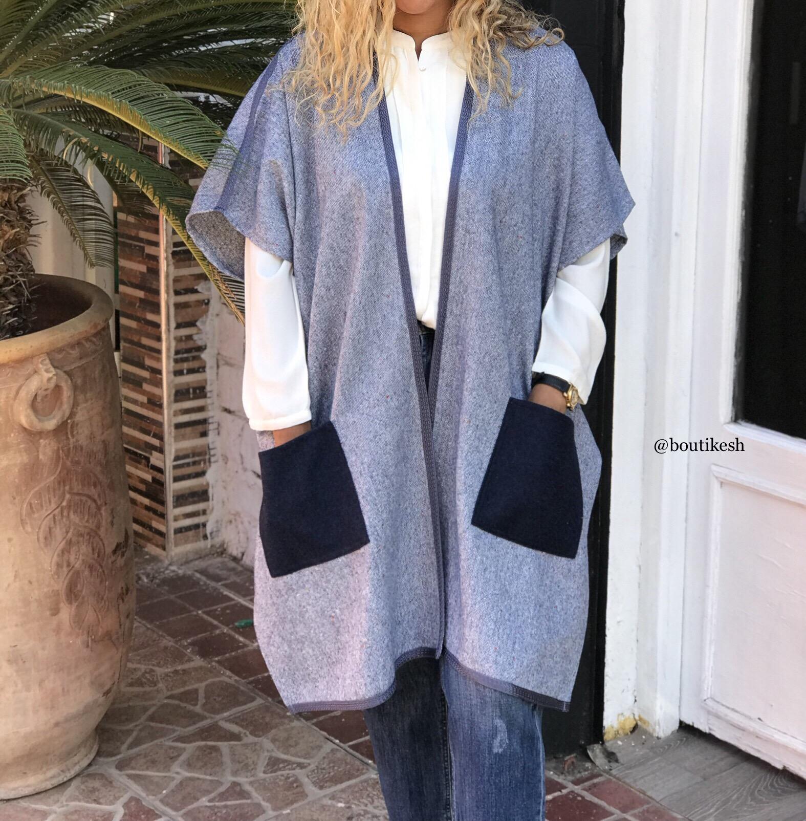Kimono tweed light blue with blue navy cachemire pocket