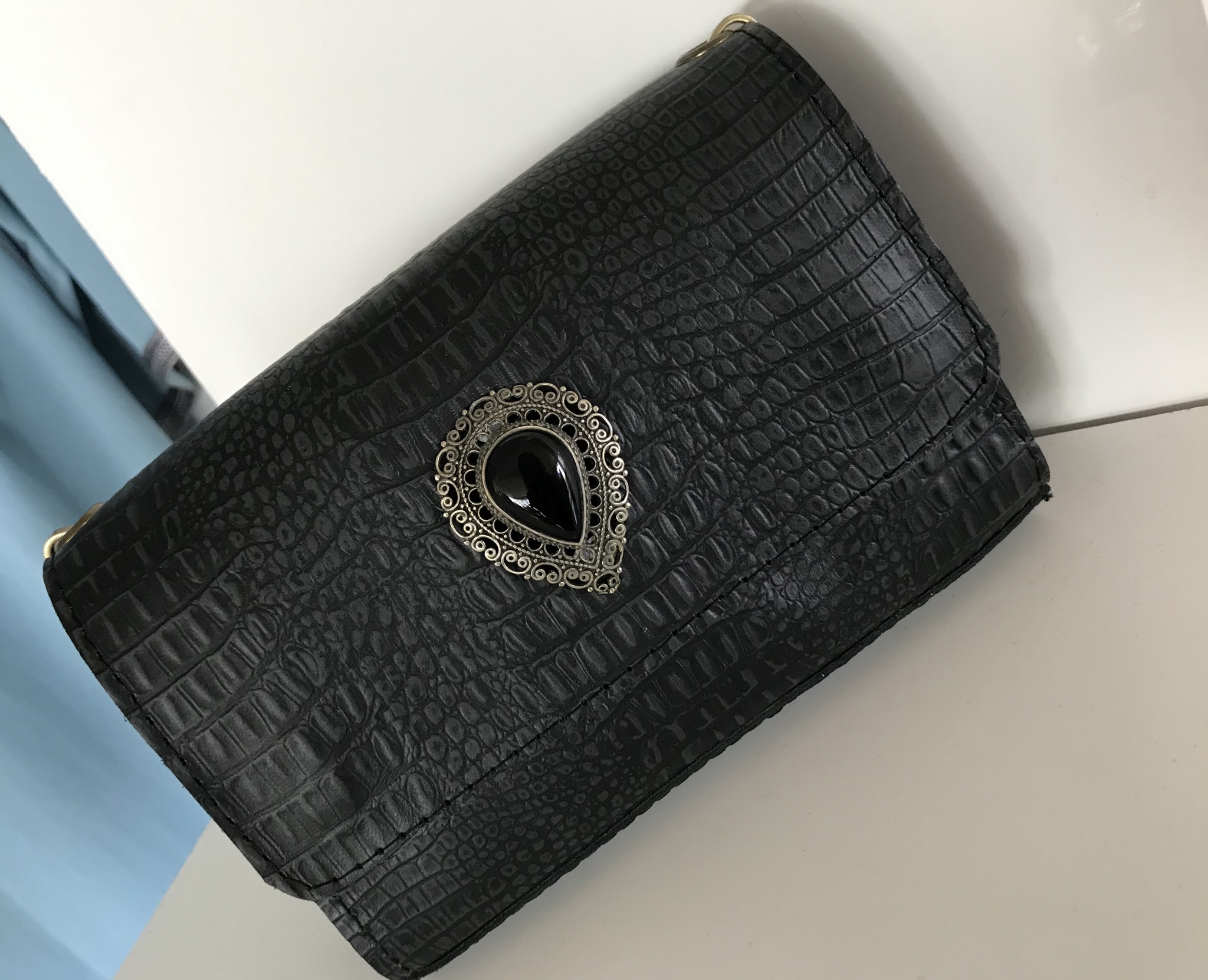 Jewelry bag leather croco dark grey black