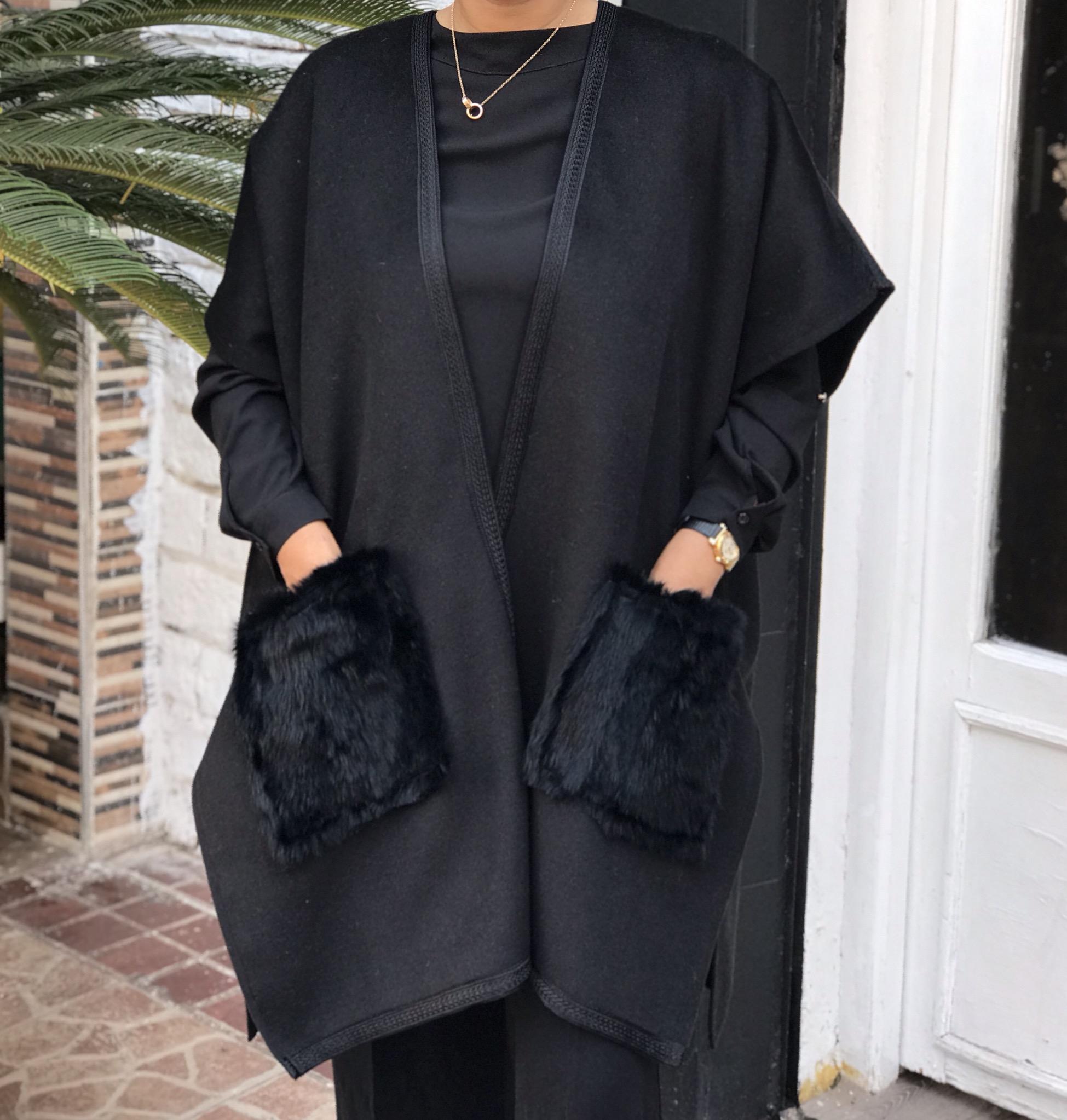Kimono cashemire black with black rabbit pockets