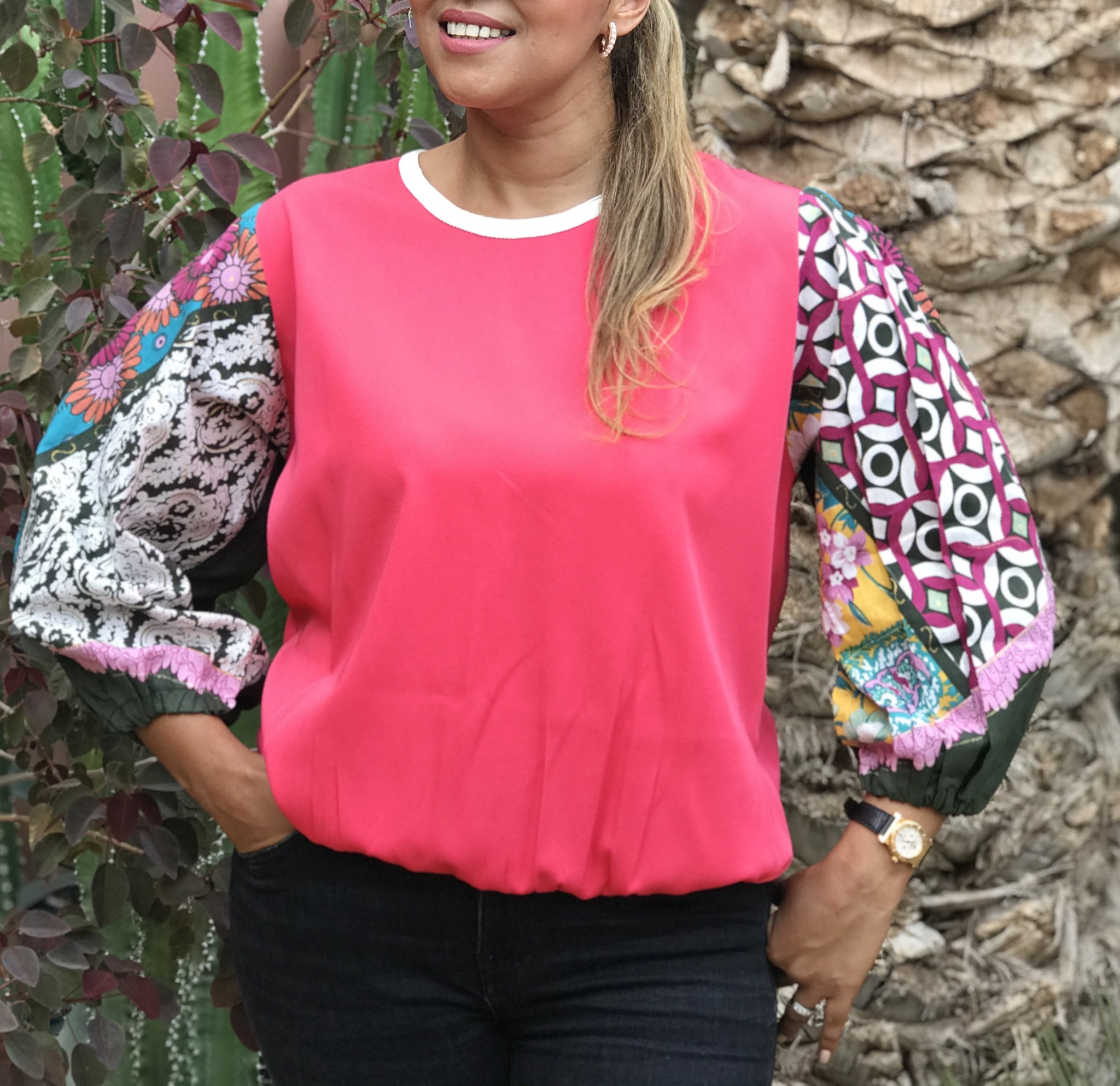 Top coton pink with colorful & large sleeves