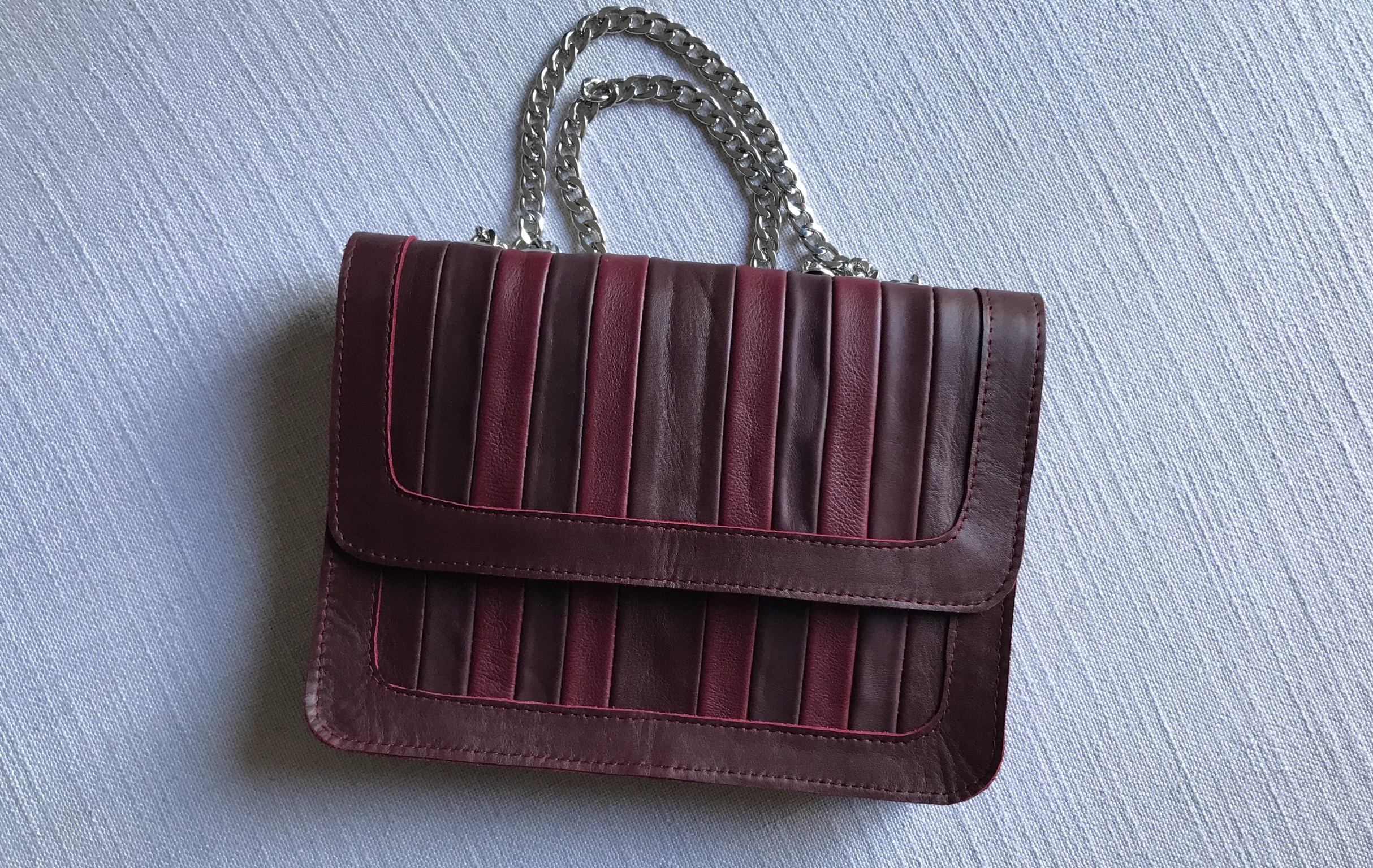 Bag leather multicolor burgundy