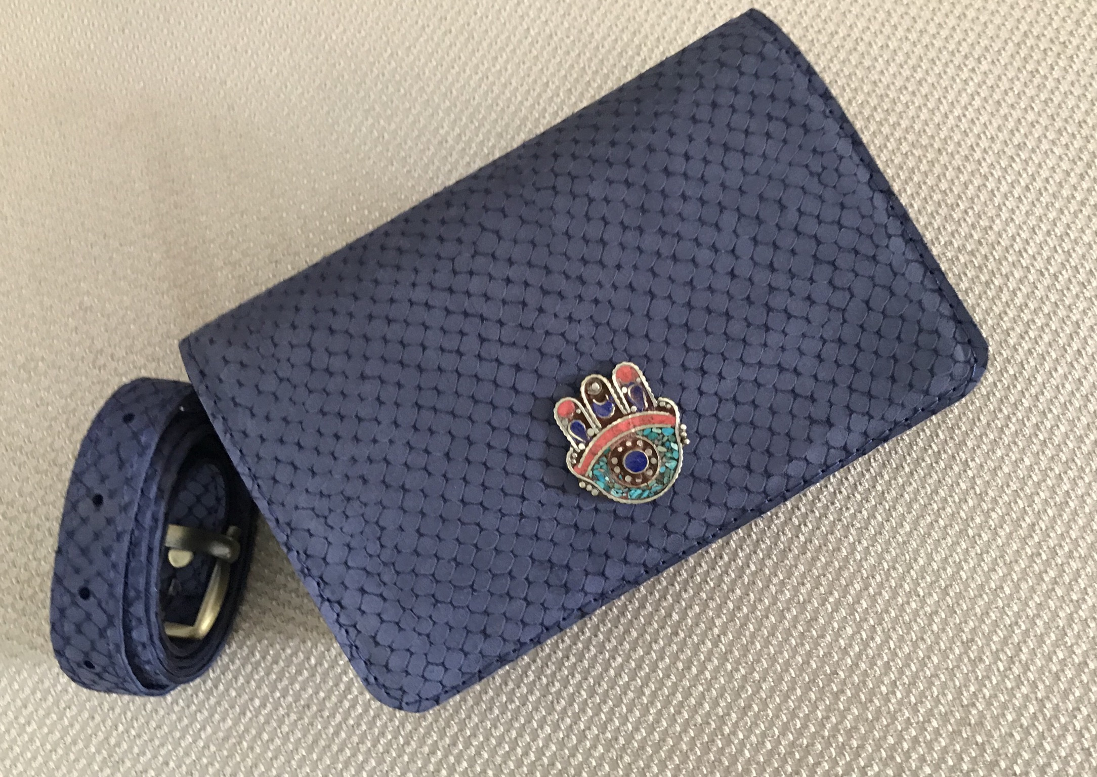 Belt Bag leather blue croco with jewelry