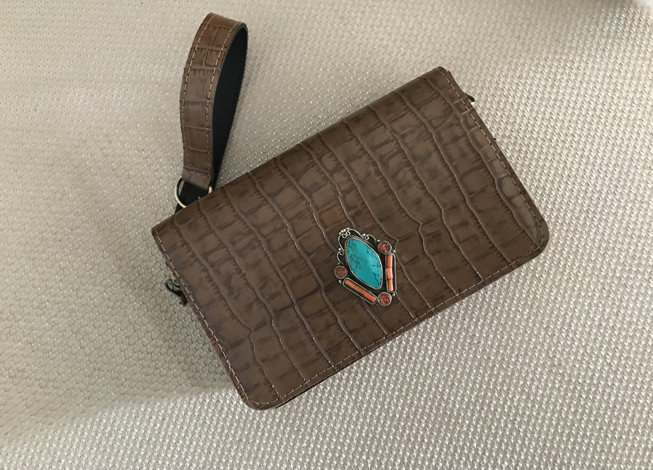 Mini jewelry bag leather croco brown